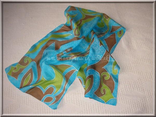 Hodvábny šál 150x40 cm - ručne maľovaný